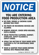 Food Production Area, No Food, Wear PPE Sign