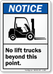 ANSI No Lift Trucks Beyond Point Sign