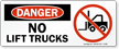No Lift Trucks Danger Sign With Graphic