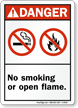 No Smoking Or Open Flame Sign