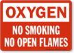 Oxygen No Smoking Flames Sign