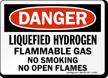 Danger Liquefied Hydrogen Flammable Gas Sign