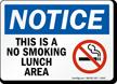 No Smoking Lunch Area (symbol) Sign