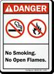 No Smoking Open Flames Danger Sign