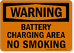 Warning Battery Charging Smoking Sign