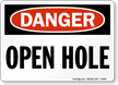 Danger Open Hole Sign