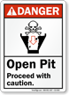 Open Pit Proceed With Caution ANSI Danger Sign