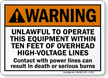 Unlawful To Operate Within Ten Feet High-Voltage Sign