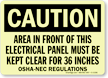GlowSmart Electric Panel Area Be Kept Clear Sign