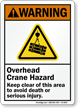 Overhead Crane Hazard, Keep Clear Avoid Death Sign