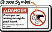 Create your warning message pinch hazard Sign