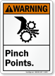 Warning ANSI Pinch Points Sign