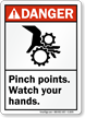 Danger (ANSI) Pinch Points Watch Hands Sign