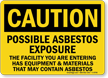 Possible Asbestos Exposure OSHA Caution Sign