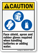 Faceshield Apron Gloves Required When Handling Batteries Sign