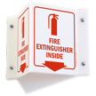 Projecting Fire Extinguisher Inside Sign with Down Arrow