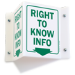 Right to Know Info (graphic, arrow) Sign
