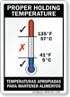 Proper Holding Temperature Bilingual Sign