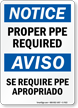 Ppe Required Bilingual Sign