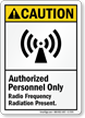 Radio Frequency Radiation Present Sign (With Symbol)