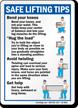 Safe Lifting Tips, Bend Knees Hug Load Sign