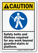Safety Belts And Lifelines Required ANSI Caution Sign
