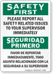 Safety First Report All Safety Related Issues Sign