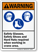 Safety Glasses, Safety Shoes Hard Hats Required Sign