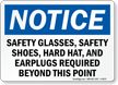 Safety Glasses, Shoes, Hard Hat Required Sign