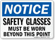 Notice Wear Safety Glasses Beyond Sign