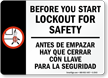 Before You Start Lockout For Safety Sign (Bilingual)