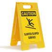 Slanted Sloped Surface Caution Floor Standing Sign