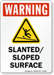 Slanted Sloped Surface Warning Sign
