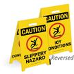 Caution Slippery Hazard Reversible Fold-Ups Floor Sign