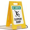 Slippery Ramp Be Careful Floor Sign