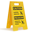 Caution Slippery When Wet Standing Floor Sign