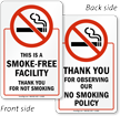 Smoke Free Facility, Thank You Sign