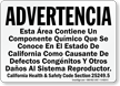 Spanish California Prop 65 Warning Sign