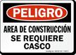 Spanish Area De Construccion Se Requiere Casco Sign