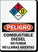 Spanish Combustible Diesel No Fumar Llamas Abiertas Sign