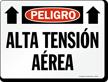 Spanish Peligro Alta Tension Aerea Sign