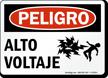 Spanish Peligro Alto Voltaje High Voltage Sign