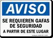 Aviso Se Requieren Gafas De Seguridad Spanish Sign
