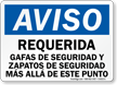 Spanish Notice Safety Glasses Shoes Required Sign