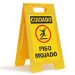 Cuidado Piso Mojado, Spanish Wet Floor Standing Sign