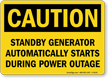 Standby Generator Starts Automatically Caution Sign