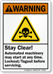 Stay Clear Automated Machinery Starts Any time Sign