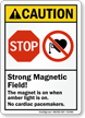 Strong Magnetic Field No Cardiac Pacemakers Stop Sign