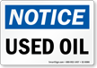 Used Oil OSHA Notice Sign