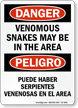 Venomous Snakes Area Bilingual Danger Sign